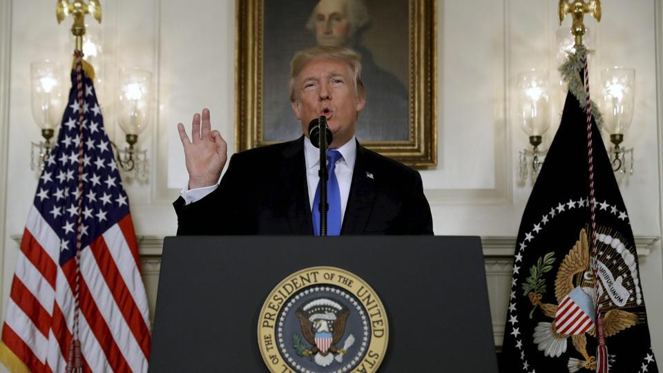 President Donald Trump speaks on Iran policy from the Diplomatic Reception Room of the White House, Friday, Oct. 13, 2017, in Washington.