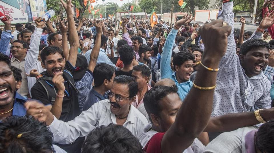 BJP supporters celebrate as its candidate wins the Bhandup  by-election in Mumbai on Thursday.