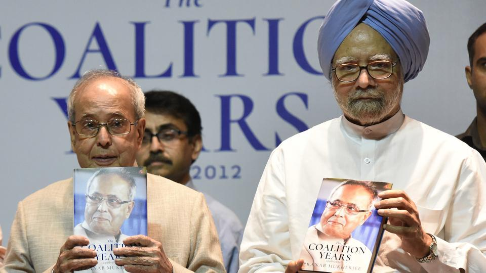 Former president Pranab Mukherjee with former prime minister Manmohan Singh on the release of Mukherjee's autobiography 'The Coalition Years: 1996-2012' at Teen Murti Bhawan in New Delhi.