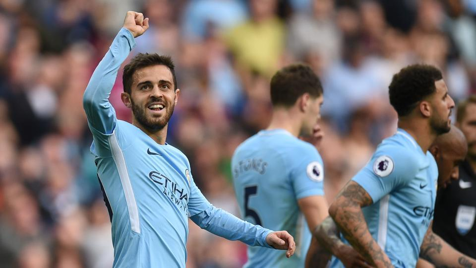 Unbeaten Manchester City F.C. opened up a two-point lead at the top of the Premier League table with another demonstration of bewildering brilliance in their 7-2 thrashing of Stoke City at the Etihad Stadium on Saturday.