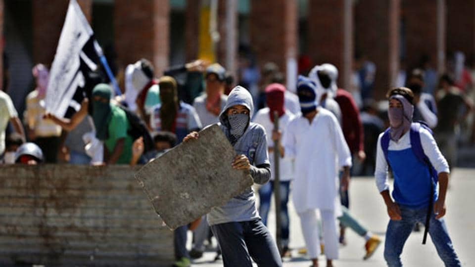 File photograph of a protest in Srinagar.