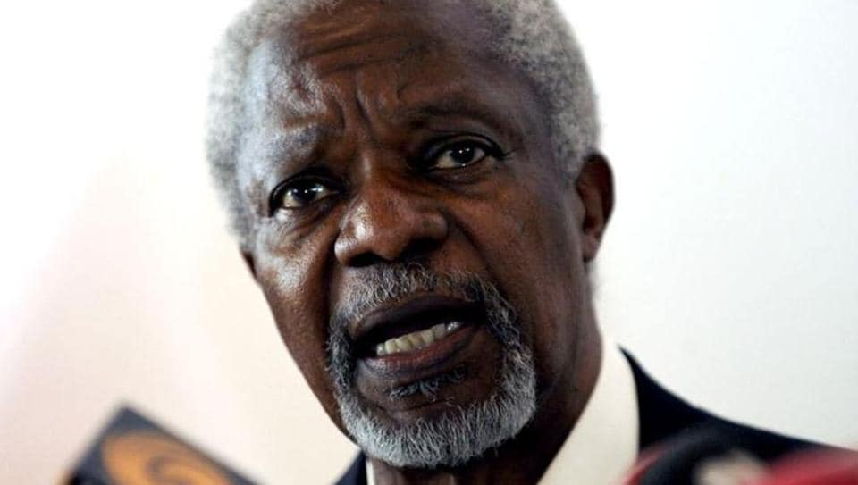 UN-Arab League envoy Kofi Annan speaks during a news conference at Hatay airport, southern Turkey. Reuters