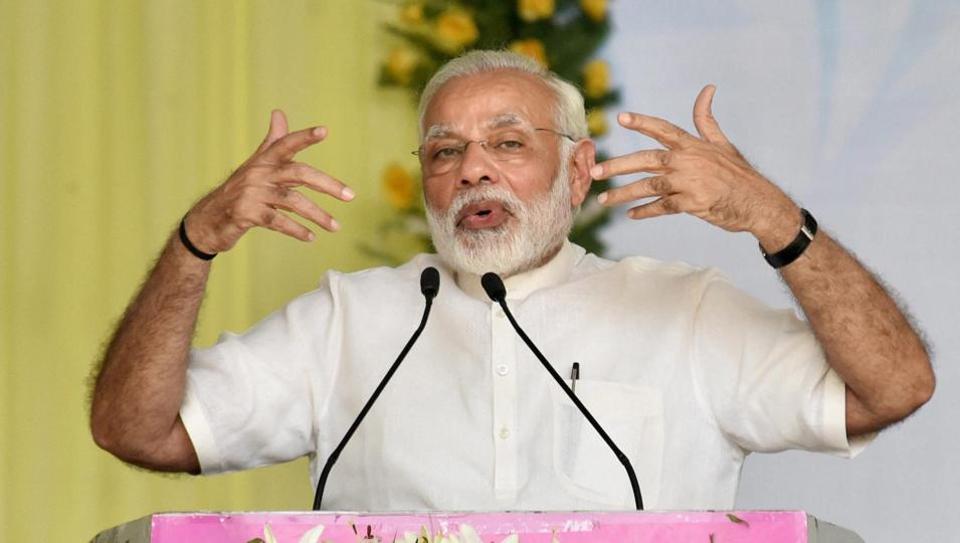 Prime Minister Narendra Modi addressing at the Centenary Celebrations of Patna University, in Patna on Saturday.