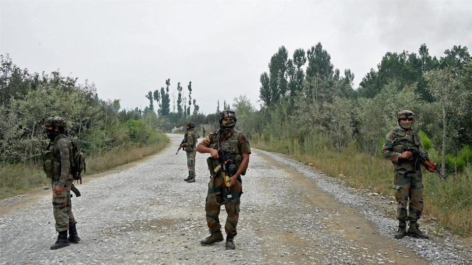 File photo of Army personnel during a gun battle with militants who attacked a police complex in which three security personnel were martyred in Pulwama of South Kashmir on October 2.
