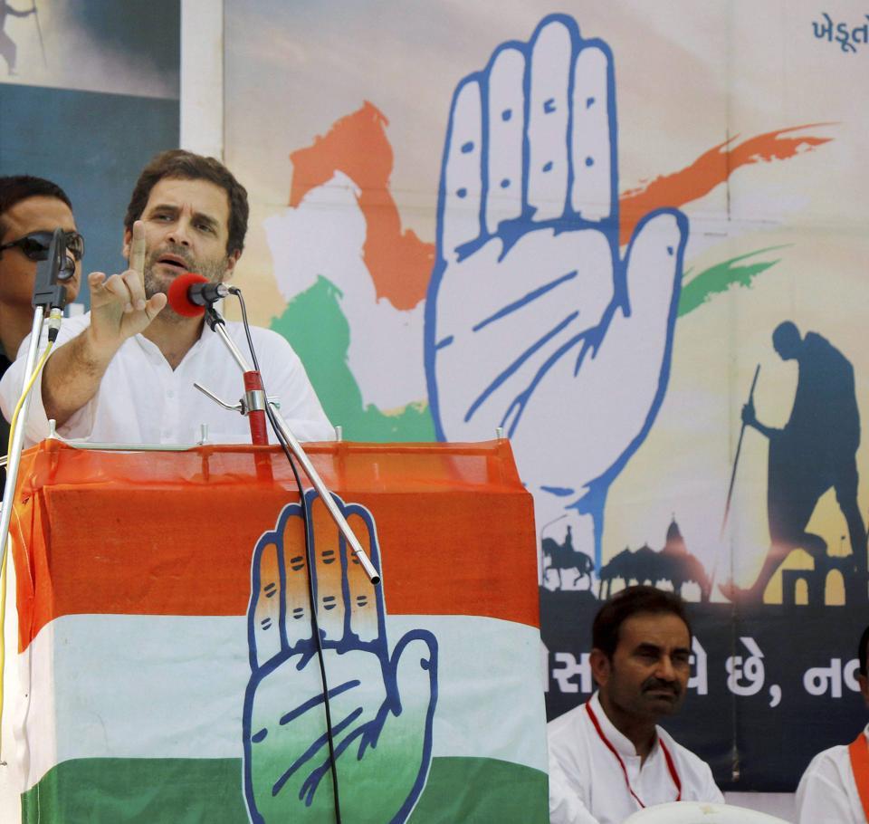 Congress vice-president Rahul Gandhi addresses a public meeting during his road show at Karjan village in Vadodara on Tuesday.