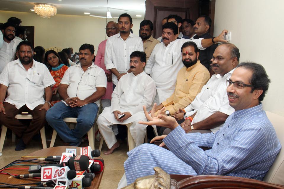 Shiv Sena chief Uddhav Thackeray addresses a press conference at Matoshree , Bandra, on Friday.