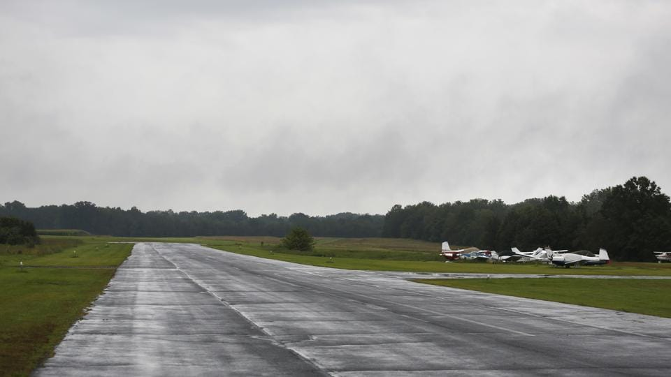 An idle runway at Solberg-Hunterdon Airport in Whitehouse Station, New Jersey.