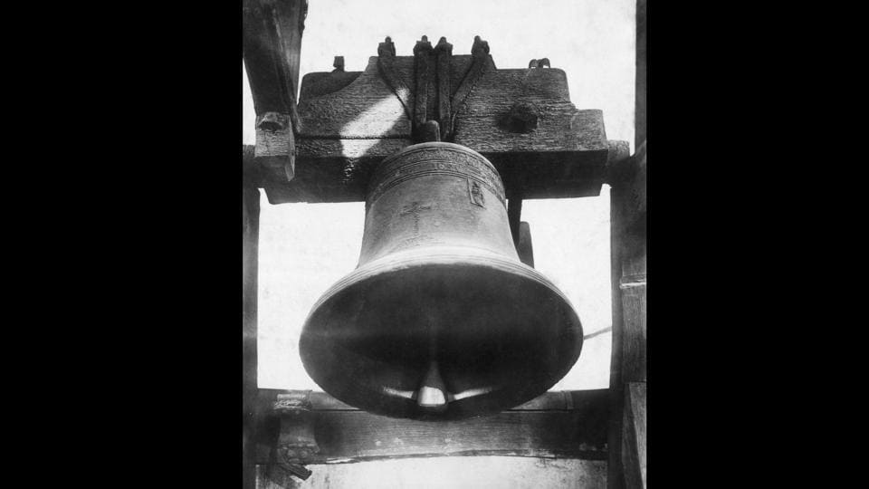 Seen above is a photo of the death bell which tolled on the evening of the execution of the Dutch spy Mata Hari in 1917 in France. In January 1917, the French authorities intercepted a cable from Germany appearing to identify Mata Hari as their 'Agent H 21'. She was arrested and charged with being a double agent.  (Henry Guttmann / Getty Images)