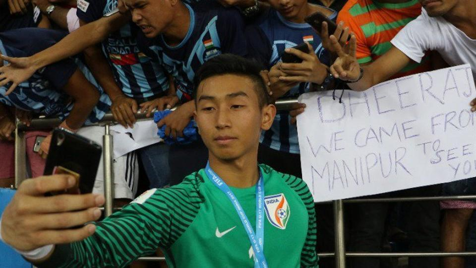 Indian U-17 football team's  goalkeeper Dheeraj Singh has caught everyone's attention at the FIFA U-17 World Cup with a stellar show.