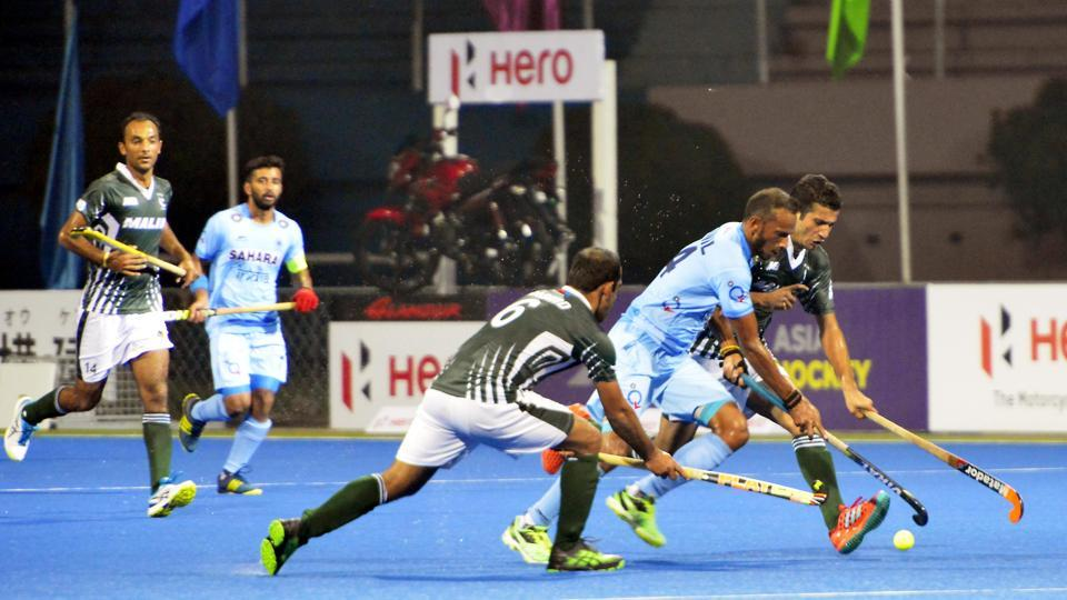 India got their first goal against Pakistan in the second quarter. Chinglensana Singh scored a field goal in the 19th minute.  (Hockey India)