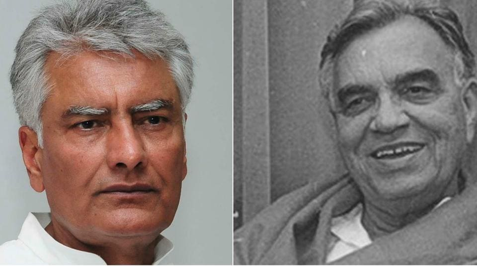 Punjab Congress chief Sunil Jakhar (Left) and his  father Balram Jakhar (Right)