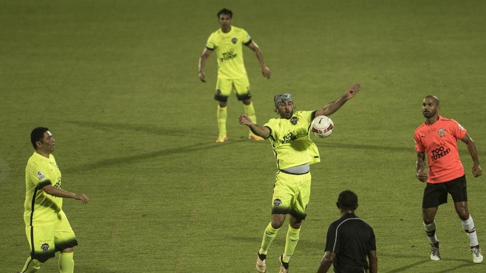 All Stars won the contest 7-3, with Dhoni scoring two goals.  (Satish Bate/HT Photo)