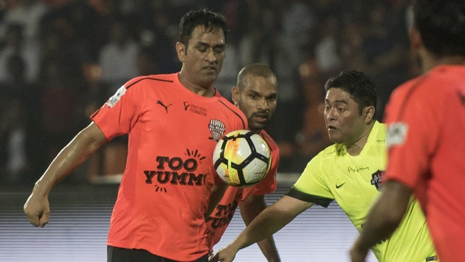 MS Dhoni was named the Man of the Match for his footballing skills.  (Satish Bate/HT Photo)