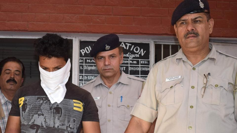The accused being taken to the Sector 31 police station in Chandigarh on Saturday.