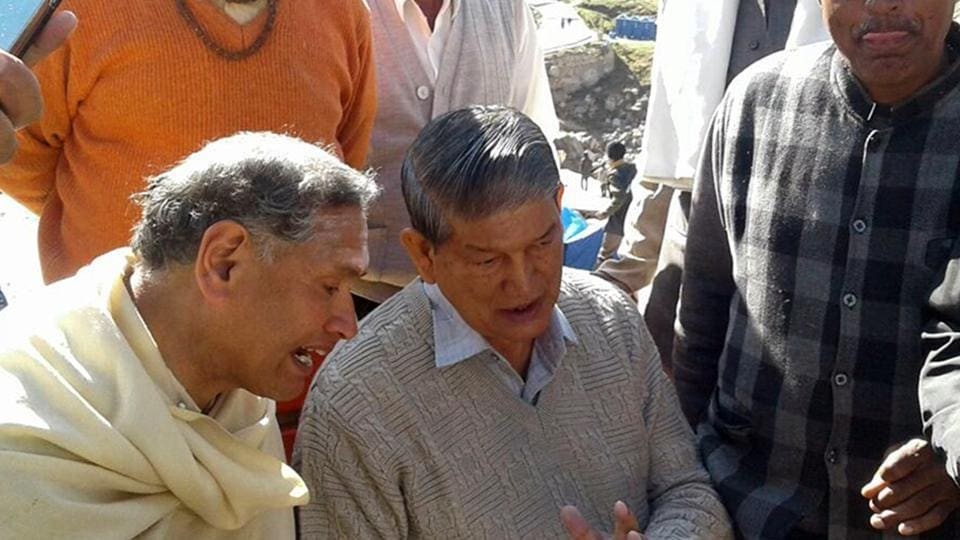 Former chief minister Harish Rawat interacts with people at Kedarnath on Sunday.