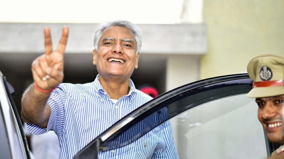Congress candidate and Punjab Pradesh Congress Committee president Sunil Jakhar after his victory in Gurdaspur Lok Sabha bypoll on Sunday.