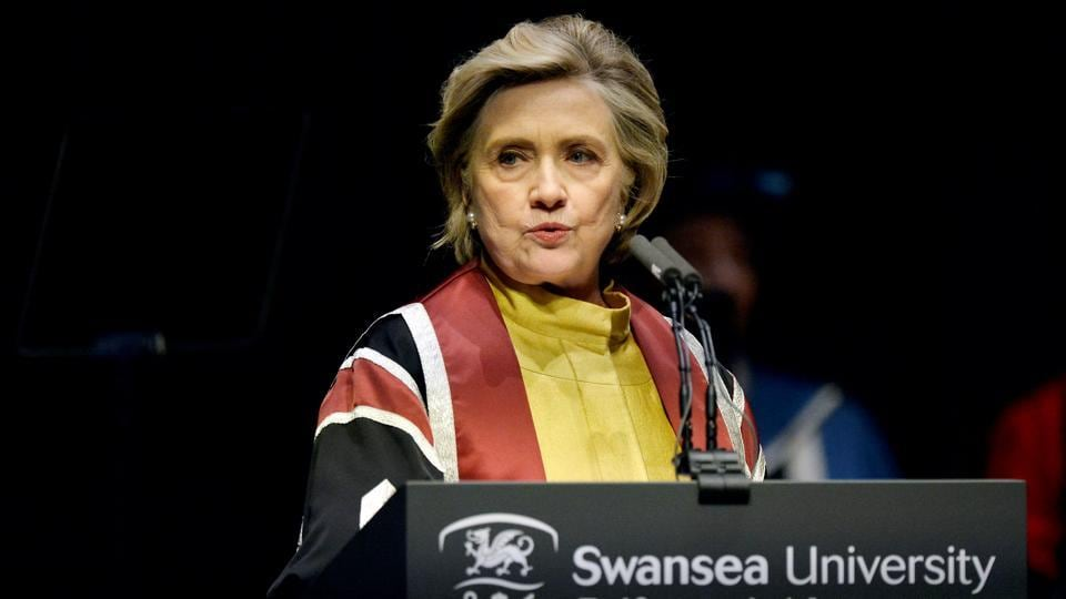 Former US Secretary of State, Hillary Clinton, gives the Honorary Degree Recipient Address after receiving an Honorary Doctorate of Law at Swansea University, in Swansea, Britain October 14, 2017.
