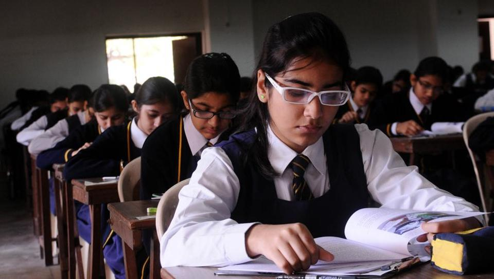 File photograph Class 10 girls during their ICSE board examination at La Martiniere School in Lucknow .