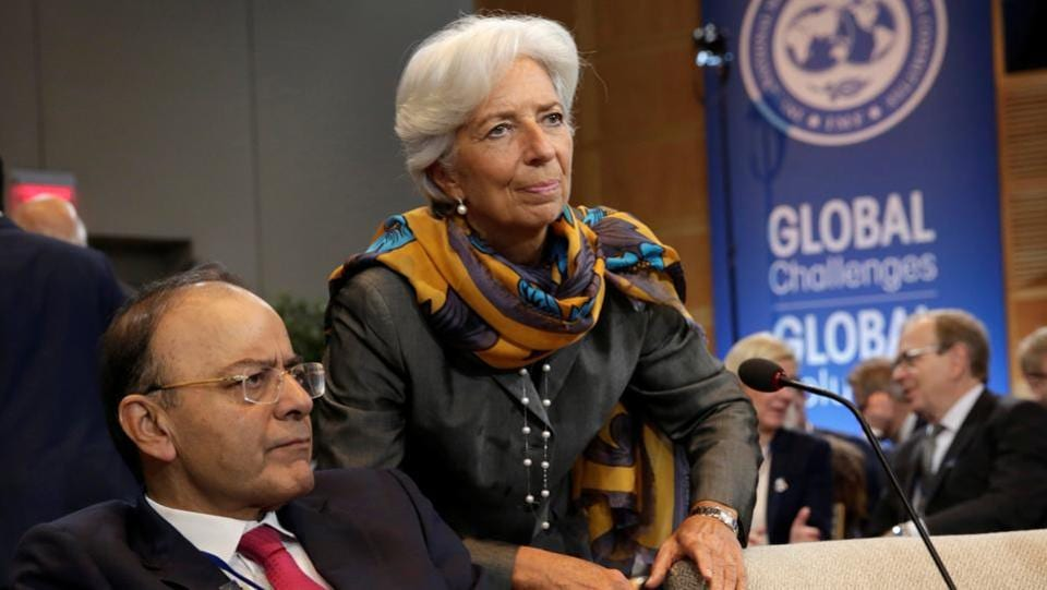 Finance minister Arun Jaitley and International Monetary Fund (IMF) managing director Christine Lagarde attend IMFC plenary during the IMF/World Bank annual meetings in Washington, US, October 14.