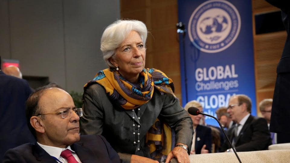 Indian Finance Minister Arun Jaitley and International Monetary Fund (IMF) Managing Director Christine Lagarde attend IMFC plenary during the IMF/World Bank annual meetings in Washington, U.S., October 14, 2017.