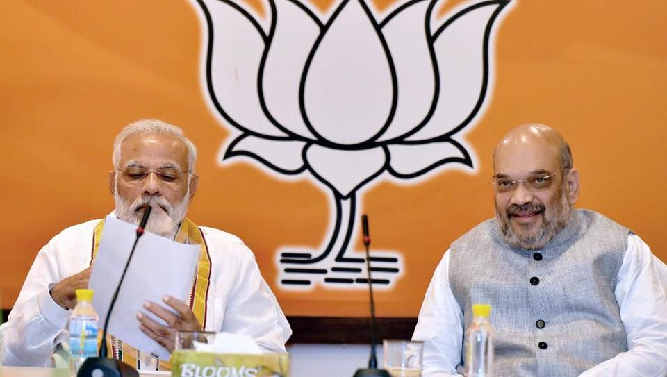 Prime Minister Narendra Modi with BJP President Amit Shah at the party's parliamentary board meeting in New Delhi on Saturday.