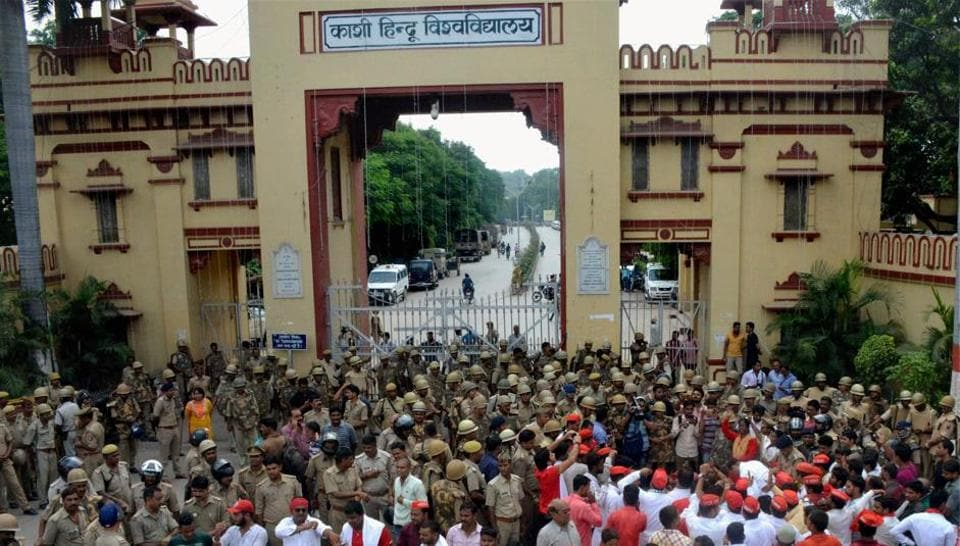 Heavy police force deployed outside the Banaras Hindu University as Samajwadi Party workers protest over the police laticharge on the female students of the university.