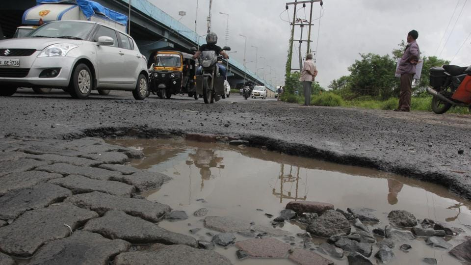 Potholes on the Eastern Express Highway.