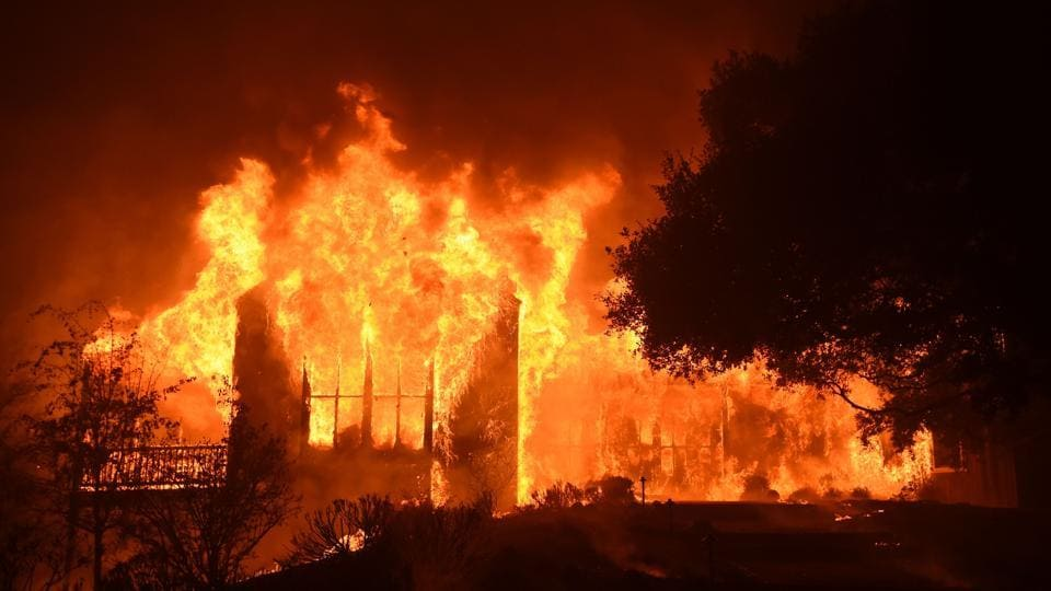 The main building at Paras Vinyards burns in the Mount Veeder area of Napa in California on October 10, 2017. (AFP Photo)