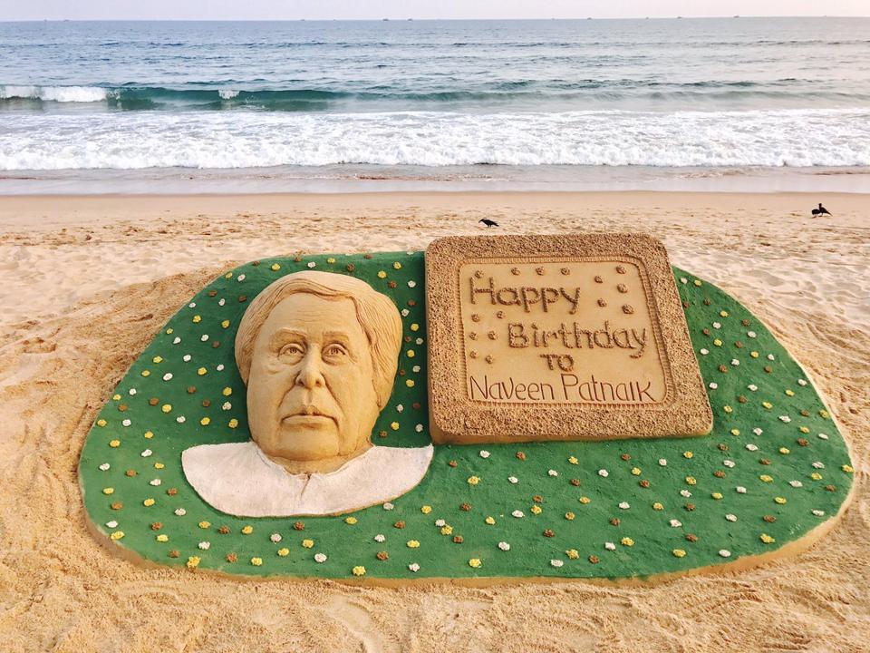 Internationally acclaimed sand artist Sudarsan Pattnaik wished the Odisha chief minister with a sand art on the Puri sea beach.