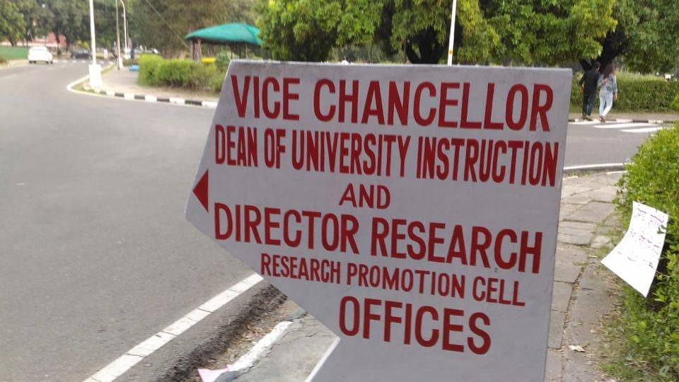 A sign board in English at Panjab University, Chandigarh.