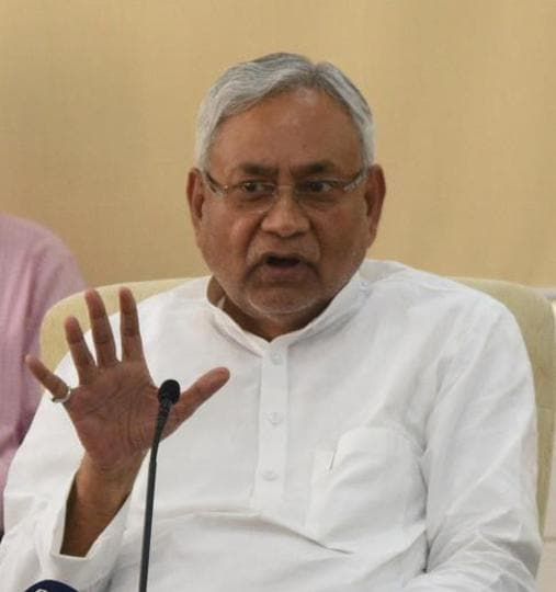 Bihar chief minister Nitish Kumar talking to reporters in Patna on Monday.