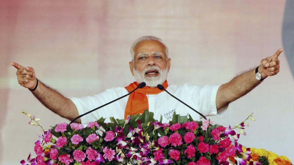 PMNarendra Modi addresses the 'Gujarat Gaurav Mahasammelan' in Ahmedabad.
