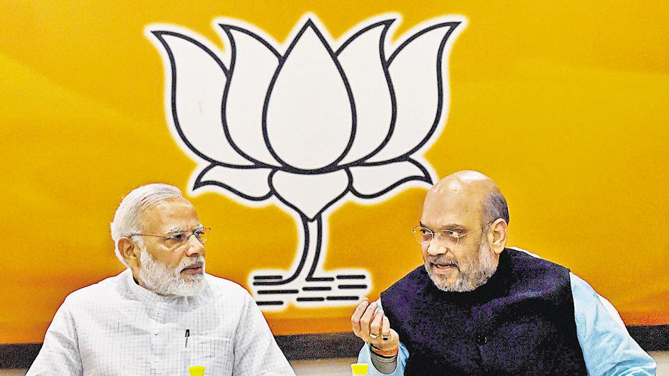 Prime Minister Narendra Modi with the BJP national president Amit Shah at the party's Parliamentary Board meeting in June 2017.