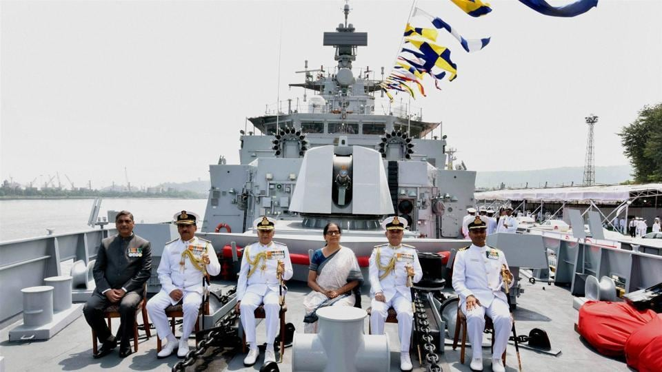 Union defence minister Nirmala Sitharaman with Chief of Naval Staff, Admiral Sunil Lanba and other dignitaries at the commissioning ceremony of INS Kiltan into the Indian Navy, at Naval Dockyard, Visakhapatnam on Monday.