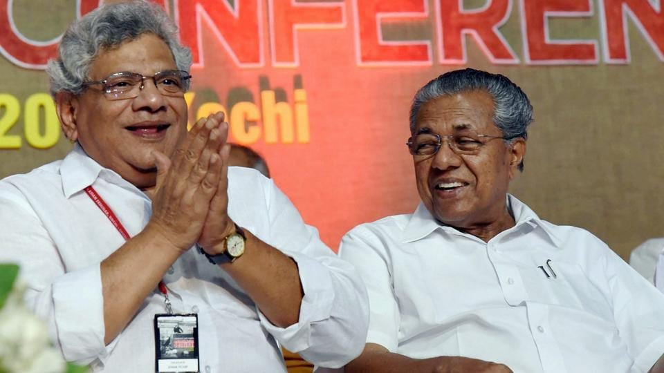 Kerala chief minister Pinarai Vijayan and CPI(M) general secretary Sitaram Yechury during the inauguration of party meeting of the 2nd day conference of Communist and Left parties from South Asia in Kochi on Sunday.