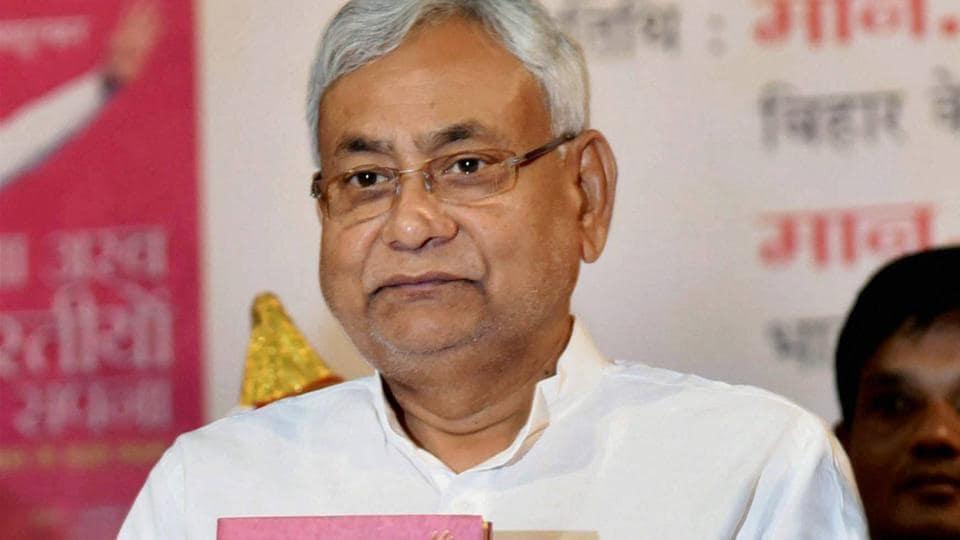 Bihar chief minister Nitish Kumar releases the Hindi version book of 'Sawa Arab Bhartiyo Ka Sapna' at Ravindra Bhawan in Patna on Sunday.