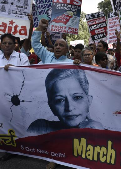 Social organizations march for justice for journalists Gauri Lankesh, Panesar Dobhalkar and Kubergi in New Delhi, India, on Thursday, October 5, 2017.
