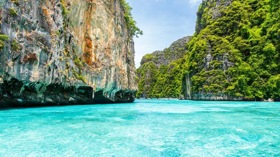 Clear waters at Krabi in Thailand.