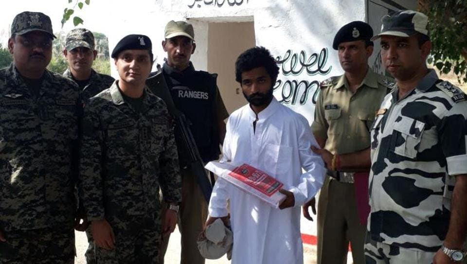 Pak national Ali Raja who was repatriated by the BSF on Tuesday. (HT Photo)