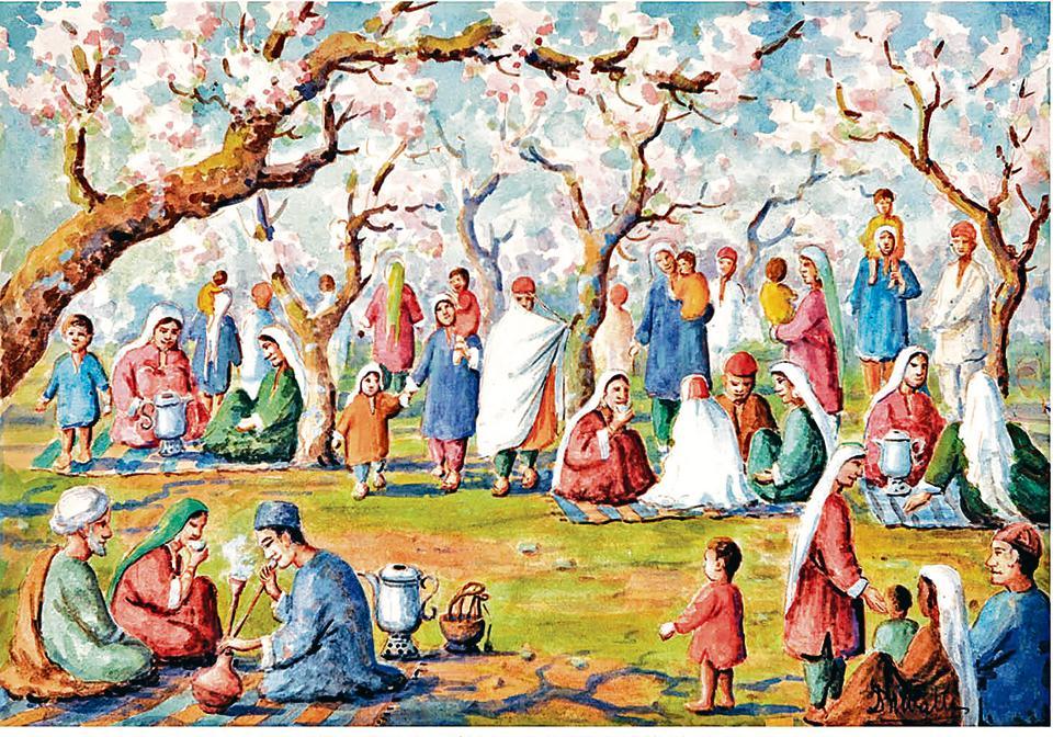 Painting entitled 'Kashmiris enjoying almond blossoms at Badam Wari' (1952)