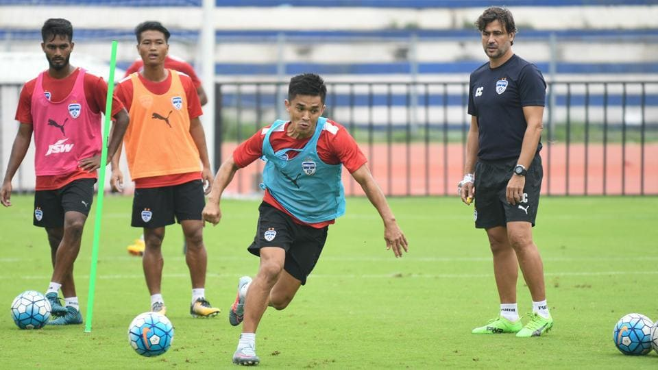 Bengaluru FC captain SunilChhetri during a practice session ahead of their AFc Cup match against FCIstiklol .