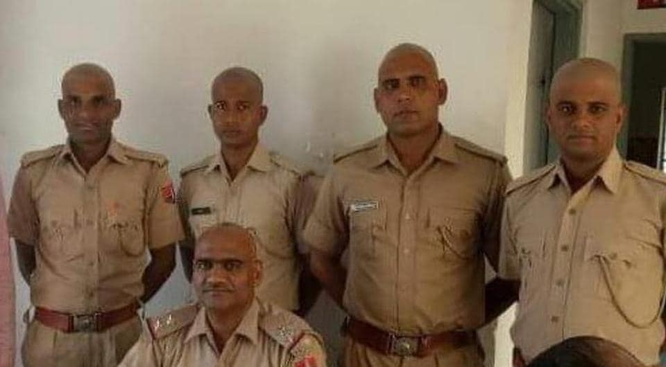 Several policemen in the state have shaved their heads as a protest. (HT Photo)
