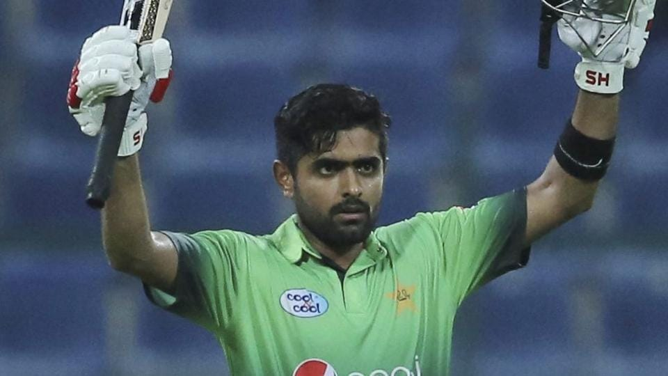 Babar Azam celebrates after he reached century-mark against Sri Lanka in the second ODI.