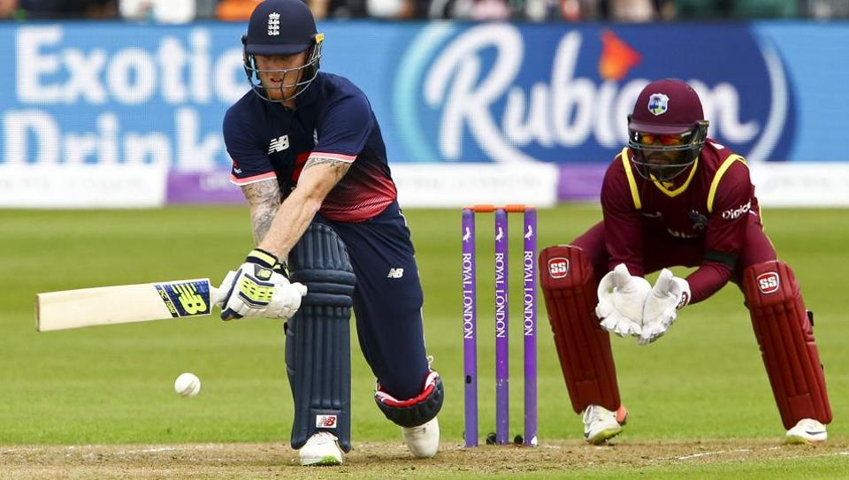 England's Ben Stokes plays a shot as West Indies' Shai Hope (R) keeps wicket during the third ODI at the Brightside Ground in Bristol on September 24, 2017.  Stokes was arrested following a fight outside a Bristol pub.