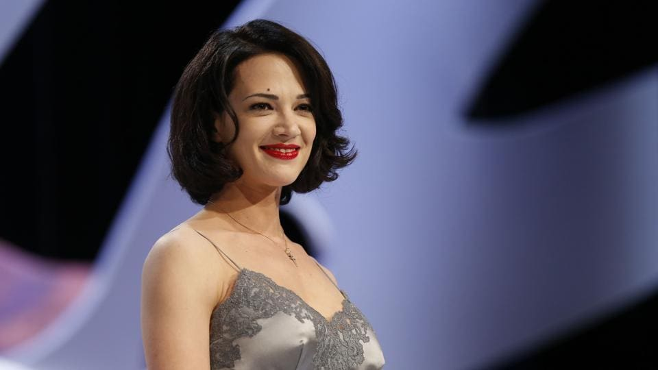 (FILES) This file photo taken on May 26, 2013 shows Italian actress Asia Argento on stage prior to handing the Best Screenplay award during the closing ceremony of the 66th Cannes film festival in Cannes.