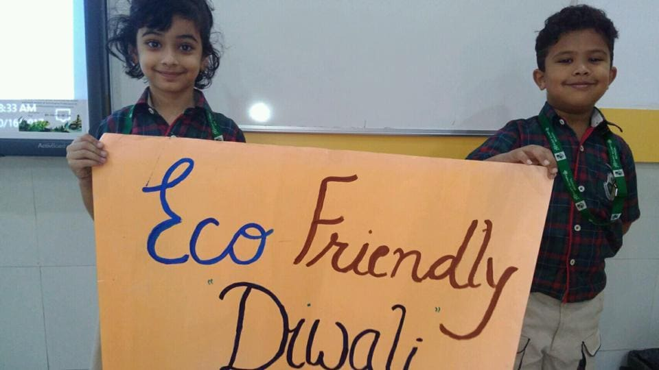 Students of a city school spread the message of an eco-friendly Diwali.