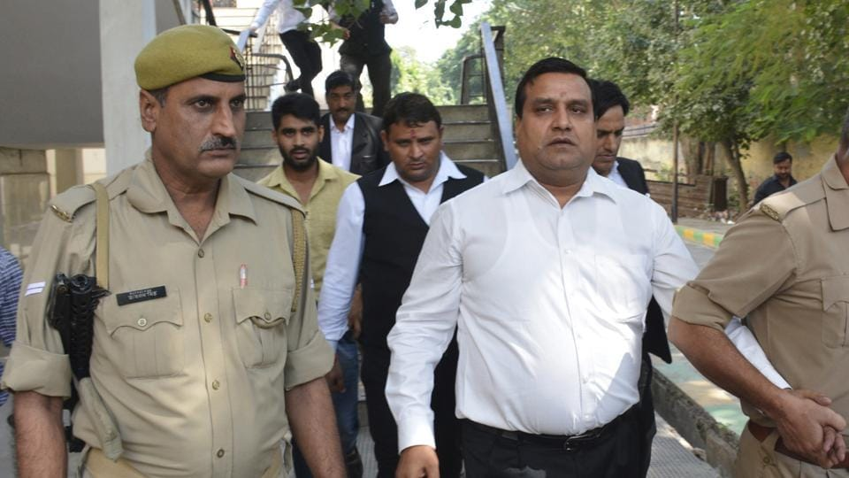 Former MLA Amarpal Sharma (centre) on Tuesday surrendered before Ghaziabad court and was sent to Dasna jail on 14 days' judicial custody.