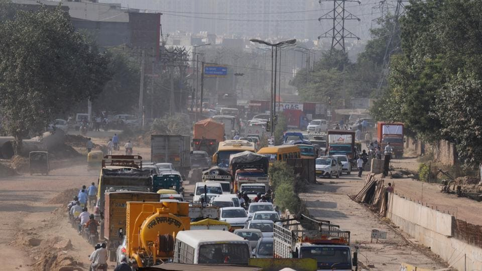 Traffic jam at Sector 10A Chowk.