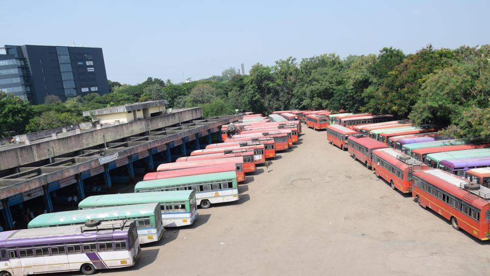With Maharashtra State Road Transport Corporation (MSRTC) workers going on an indefinite strike from October 16 midnight, PCMC's ST Depot  wore an empty look on Tuesday. Hundreds of commuters travelling across Maharashtra were left stranded. (HTPHOTO)