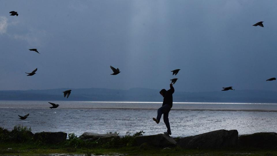 A man struggles against the wind on Mount Charles pier ahead of Hurricane Ophelia in Donegal, Ireland. Ireland's weather service, Met Eireann, described the storm as the most powerful on record to have ever been this far east in the Atlantic. The government issued its most severe red weather warning whilst amber warnings remained in place for Northern Ireland and parts of Wales. (Charles McQuillan / Getty Images)